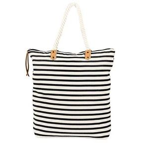 Summer & Rose Striped Canvas Tote w/ Rope Handle